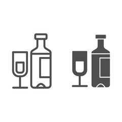 Wine bottle and glass line and glyph icon. Champagne bottle with glass vector illustration isolated on white. Alcohol outline style design, designed for web and app. Eps 10.