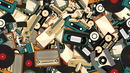Texture, seamless pattern of old retro hipster electronics, mobile phones, tv recorder, player, audio tape, video recorder, game console, camera, computer. The background.  illustration