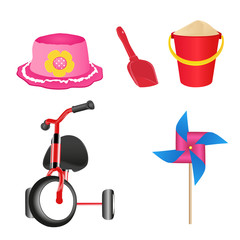 Set of colorful children's toys. Vector illustration.