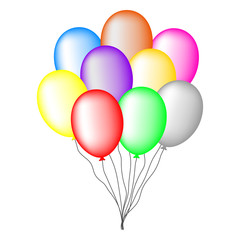 Bundle of Colored Balloons isolated on white background. Vector Illustration for Your Design, Game, Card.