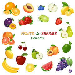 Mix of fruits and berries colorful icons set