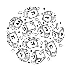 Vector set with outline Hanukkah or Hanuka dreidel or sevivon with Hebrew alphabet in black isolated on white background. Ornate contour Chanukah dreidel for Jewish holiday design or coloring book.