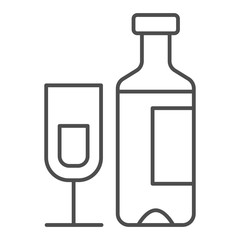 Wine bottle and glass thin line icon. Champagne bottle with glass vector illustration isolated on white. Alcohol outline style design, designed for web and app. Eps 10.