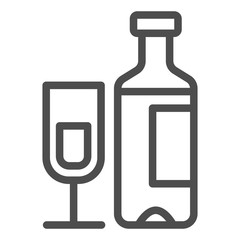Wine bottle and glass line icon. Champagne bottle with glass vector illustration isolated on white. Alcohol outline style design, designed for web and app. Eps 10.