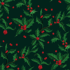 Christmas Holly with berry vector seamless pattern of Christmas plant. Holiday illustration