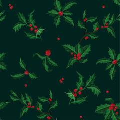 Christmas Holly vector seamless pattern of Christmas plant. Holiday illustration