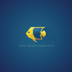 Rock Beauty Angelfish marine fish logo icon in geometric polygon style