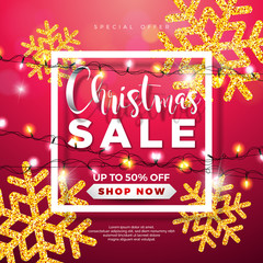 Christmas Sale Design with Lights Garland and Glittered Snowflakes on Red Background. Holiday Vector Illustration with Special Offer Typography Elements for Coupon, Voucher, Banner, Flyer, Promotional