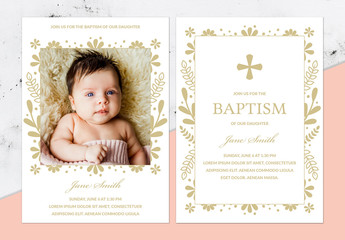 Baptism Invitation Layout with Illustrations