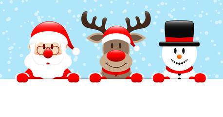 Santa, Rudolph & Snowman Banner Snow Light Blue