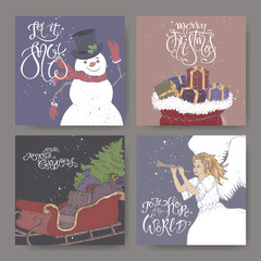 Set of four color banners with brush lettering greeting, showman, angel, a sleigh with Christmas tree and gift bags.