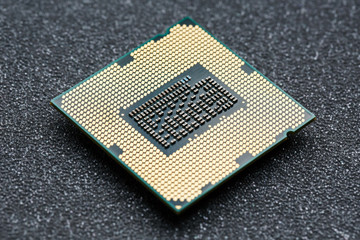Close-up of CPU Chip Processor. Selective Focus