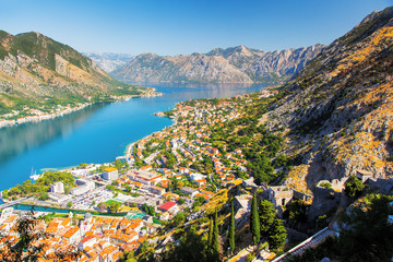 Fototapete - Great view of harbour in sunny day at Kotor bay.