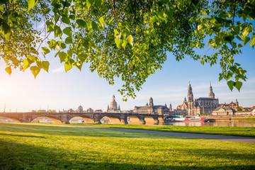 Wall Mural - The embankment of ancient Dresden city on the Elbe river.