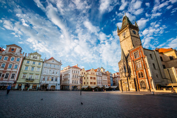 Fantastic scene of the town Hall on the old town square on Prague