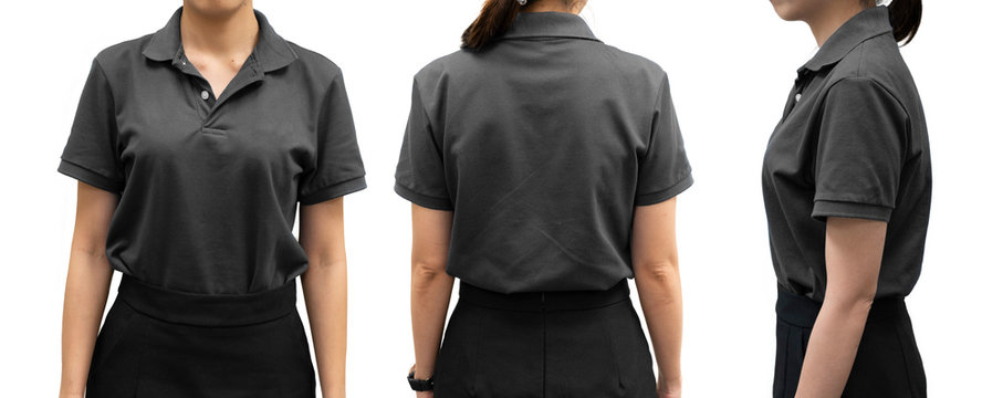 isolated gray polo shirt template on woman body for design concept