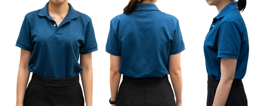 isolated blue polo shirt template on woman body for design concept
