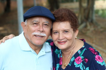 Lovely senior Hispanic couple close up
