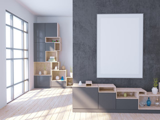 Modern bright interior with empty frame . 3D rendering 3D illustration