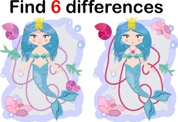 Education game for preschool kids, find the differences. Beautiful mermaid with a string of pearls. Cartoon illustration.