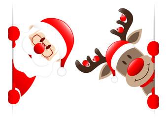 Santa & Rudolph Christmas Balls Banner