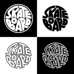 Set of 4 skateboard typography graphics. Concept for print production. T-shirt fashion Design.