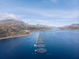 Fish farms in blue water of Lofoten Islands