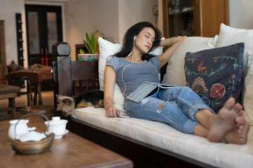 Singaporean woman on her sofa