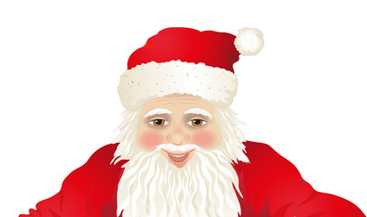 Weihnachtsmann Portrait, Weihnachtskarte Vorlage, Santa Claus Karte, Vektor Illustration isoliert auf weißem Hintergrund