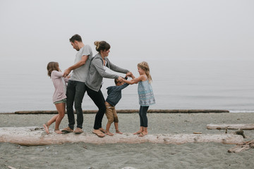 fun family hanging out on log together at the beach - cloudy day