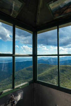 View Through Windows At The Top Of The Fire Tower