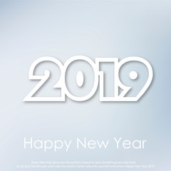 Happy New Year or Christmas greeting card with modern text. 2019. Vector