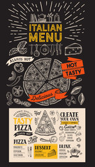 Pizza menu for italian restaurant. Vector food flyer for bar and cafe. Design template with vintage hand-drawn illustrations.