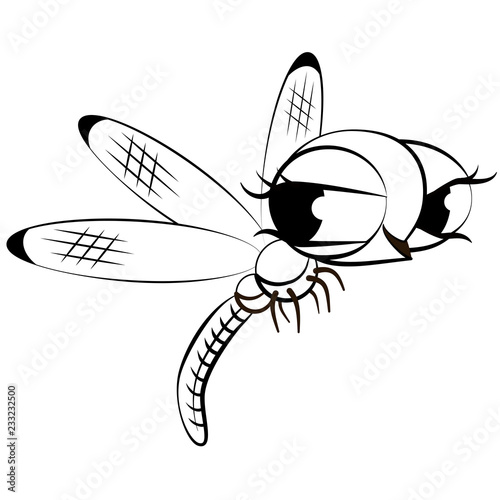 Cartoon Monochrome Dragonfly Black And White Comical Flying Adder