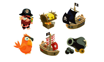 Pirate game elements set, user interface assets for mobile apps or video games vector Illustration on a white background