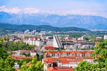 Cityscape of modern city in Ljubljana