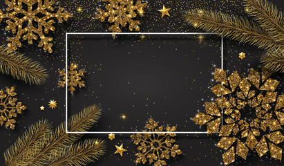 Christmas and New Year shiny poster with golden snowflakes and fir branches.