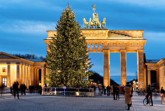 Brandenburg Gate Building Berlin with Christmas tree in the night Germany