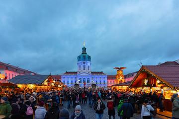 Night Christmas Market Charlottenburg Palace Winter Germany Berlin