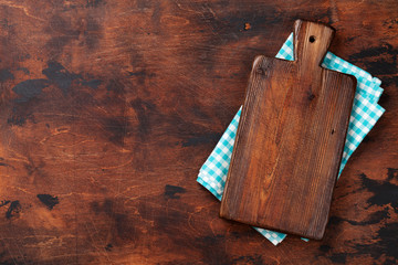 Cooking board over kitchen towel or napkin