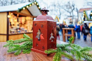 Street Lantern in Christmas Market at Gendarmenmarkt in Berlin Winter Germany