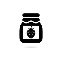 Black Strawberry jam jar simple icon or logo