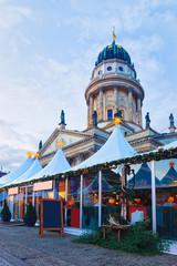 Night Berlin Christmas Market on Gendarmenmarkt at Winter Germany