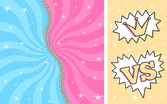 Bright pink blue striped magic background for themed party in style LOL doll surprise. Fight romantic women/men comics. Birthday cute invitation with zipper. Unzipped, closed. Lightning battle game
