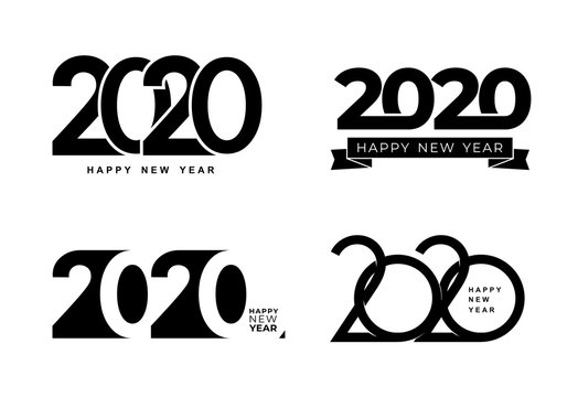 Big Set of 2020 text design pattern. Collection of Happy New Year and happy holidays. Vector illustration. Isolated on white background.
