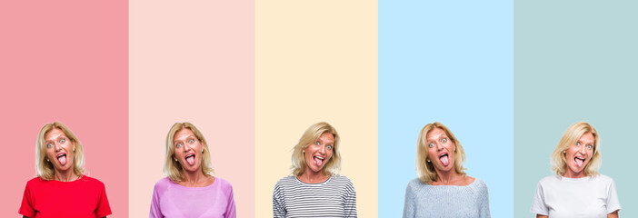 Collage of middle age senior beautiful woman over colorful stripes isolated background sticking tongue out happy with funny expression. Emotion concept.