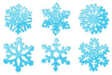 Snowflakes. Set of blue 3d winter symbols
