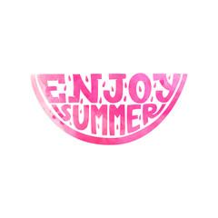 Enjoy Summer inscription. Vector hand lettered phrase on vector watercolor spot.