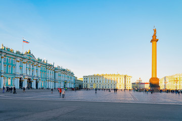 Alexander Column on Palace Square at Saint Petersburg