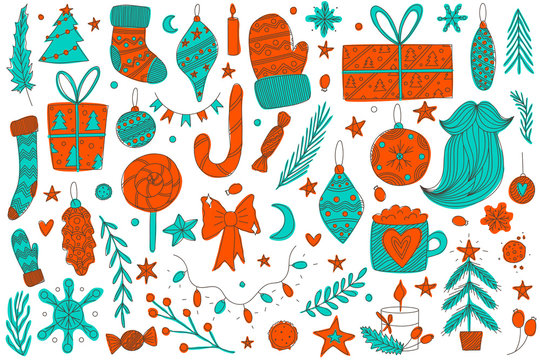 colorful hand drawn vector christmas doodle set with ornaments, santa's socks and mittens, pine trees, candy cane, lollipop, bow, candies, santa's beard, stars, christmas tree lights and presents.